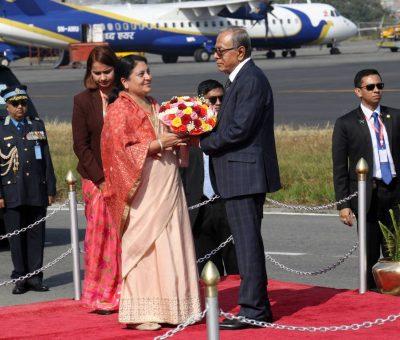 बंगलादेशका राष्ट्रपति हमिद काठमाडौंमा,राष्ट्रपति भण्डारीद्वारा विमानस्थलमै स्वागत(फोटो फिचर)