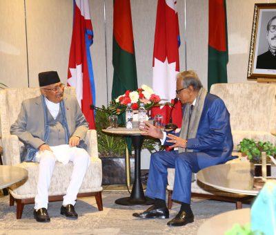 बंगलादेशका राष्ट्रपति हमिद र प्रधानमन्त्री ओलीबीच भेटवार्ता